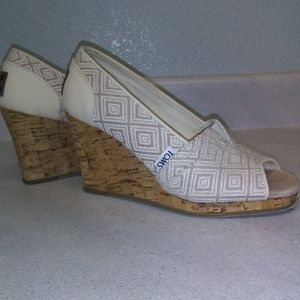 Toms Peep Toe Canvas Shoe with Cork Wedge